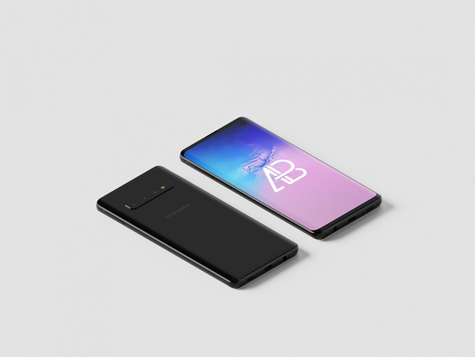 Samsung Galaxy S10 Isometric Mockup