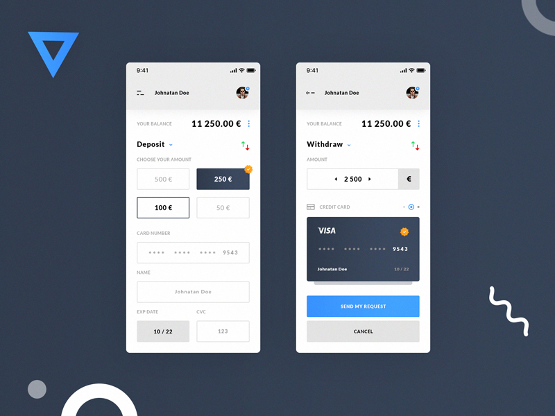 Deposit And Withdraw App Screens