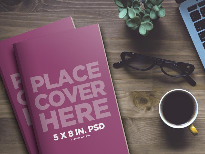 Desktop Stacked Paperback Book Mockup