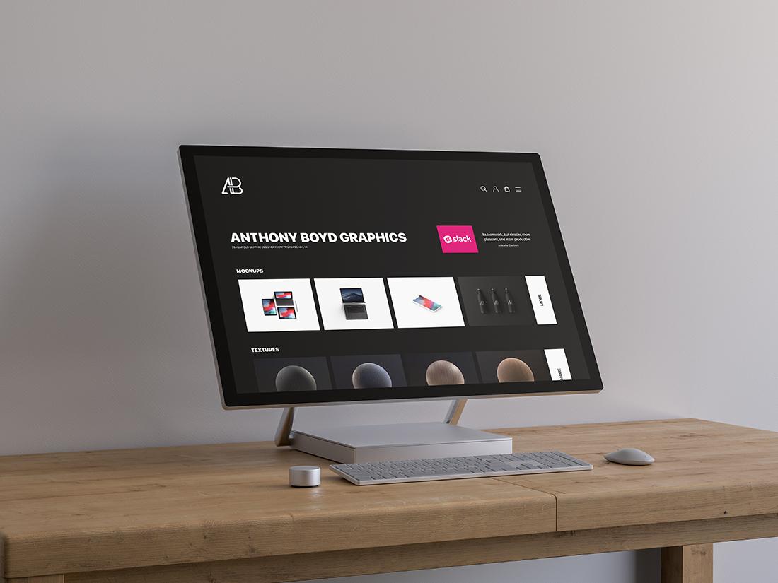 Surface Studio On Table Mockup
