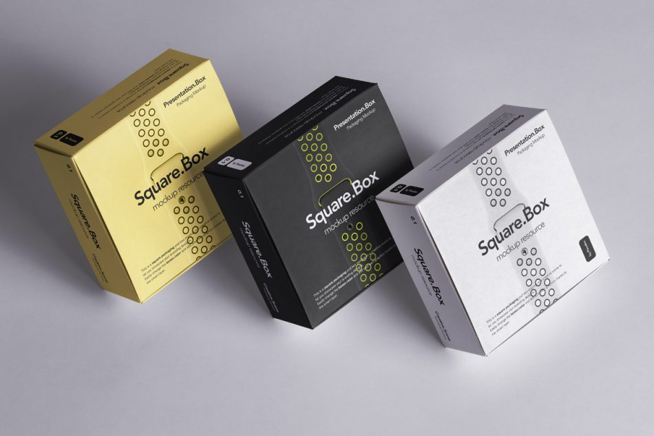 psd square box boxes packaging mockup