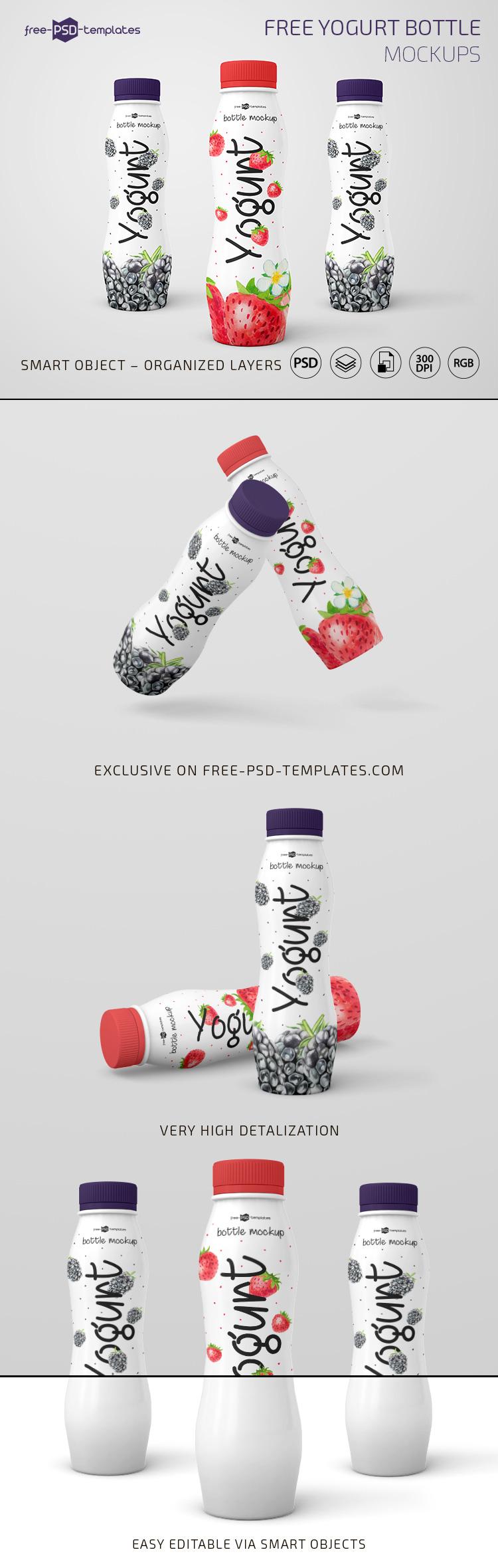 3 Free Photo-Realistic Yogurt Bottle Mockups