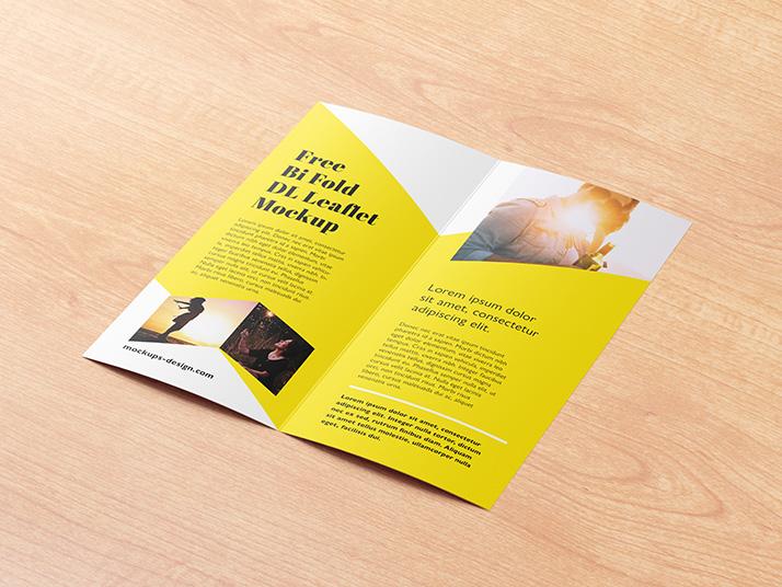 Free bi-fold DL brochure mockup