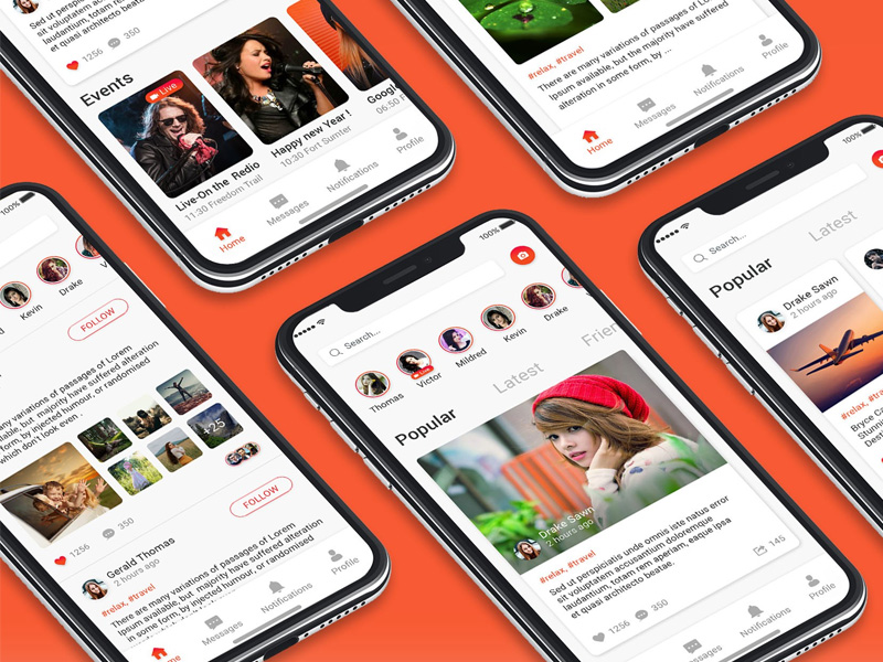 Social app ui concept design PSD