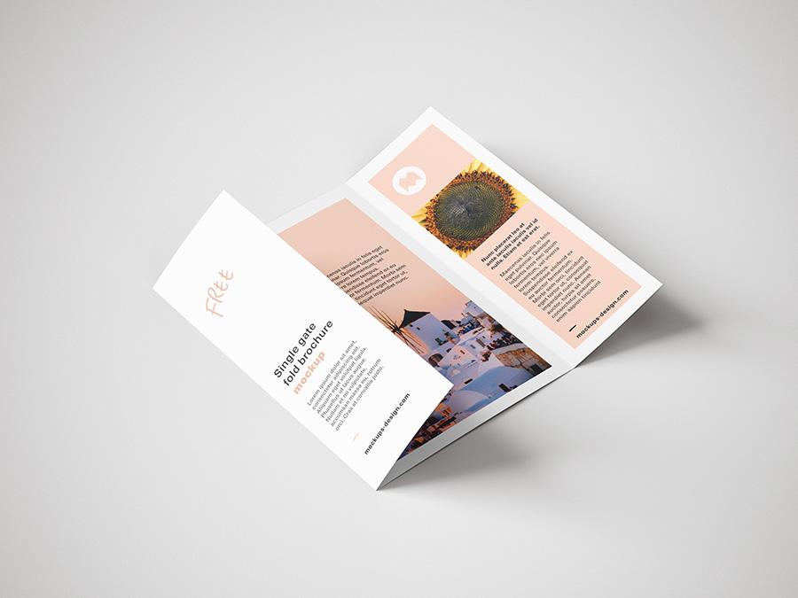 Free single gate fold brochure mockup