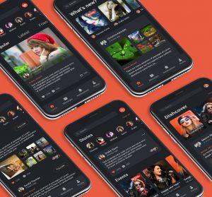 social App Ui concept Dark theme PSD
