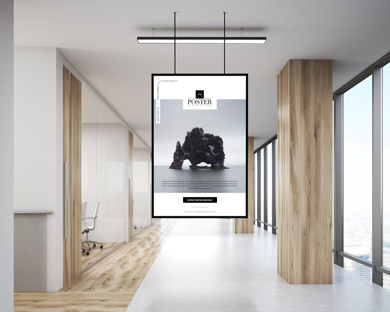 Office Indoor Hanging Poster Mockup Psd Stash