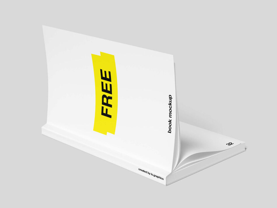 Free Opened Soft Cover Book Mockup