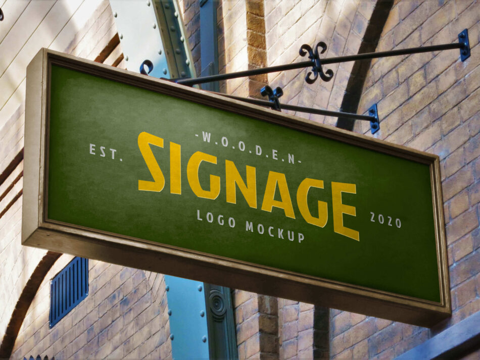 Free Rectangle Wall Mounted Wooden Signage Mockup PSD