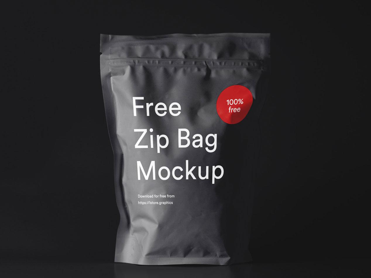 Free Zip Bag Mockup