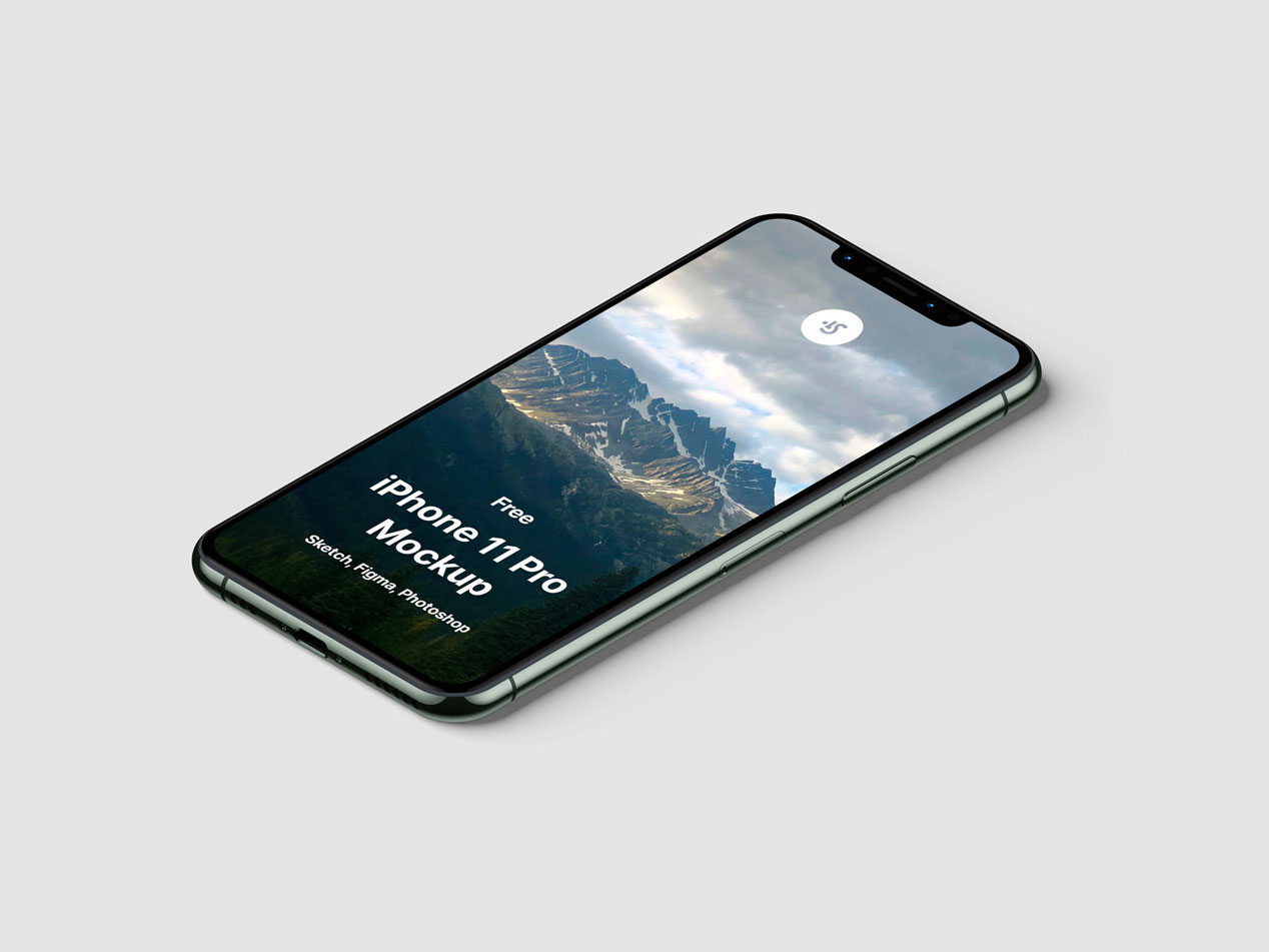 Isometric iPhone 11 Pro mockup
