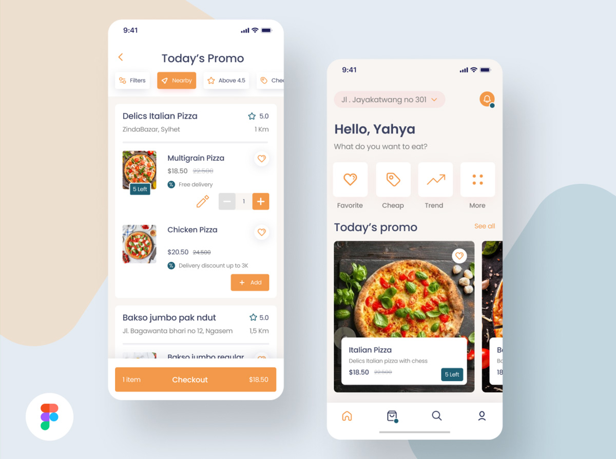 Online Pizza Delivery App UI Design