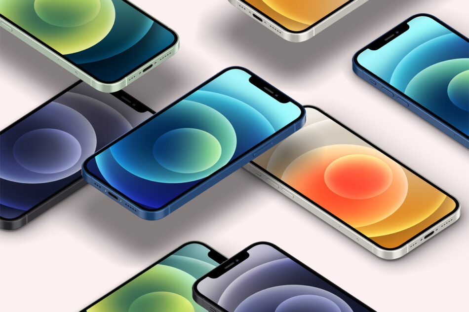 Perspective Psd Iphone 12 Mockup Set