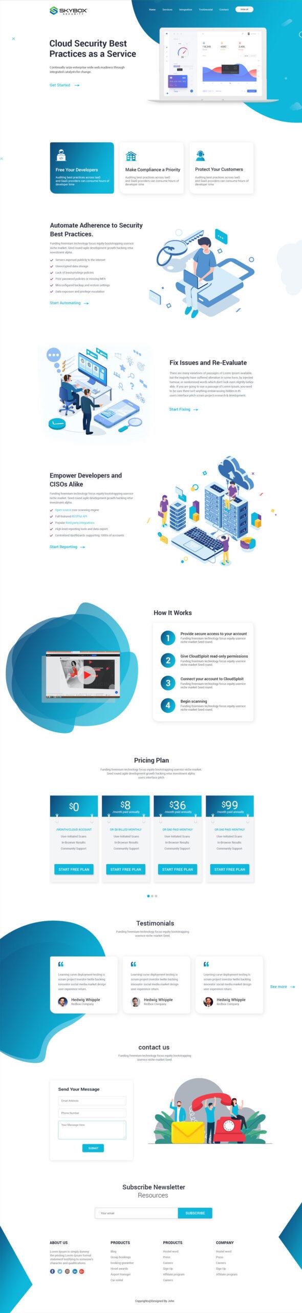 Security Website Template Design PSD