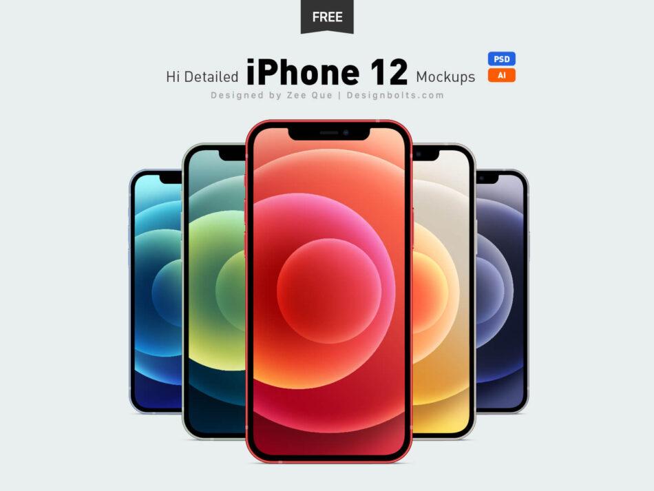 Free New iPhone 12, iPhone 12 Pro & iPhone Pro Max Ai & Mockup PSD Set