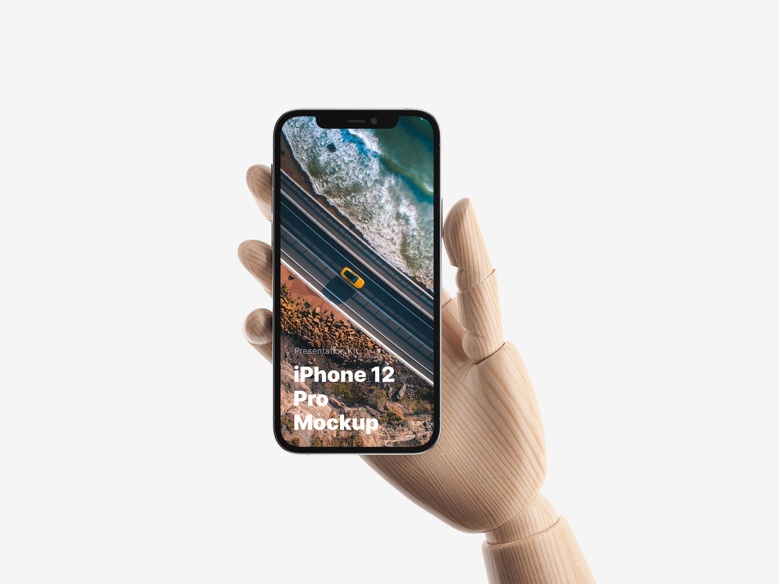 Wooden Hands iPhone 12 Pro Mockup