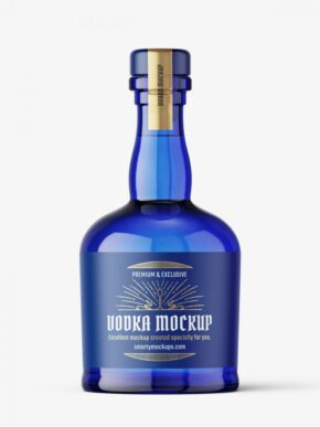 Blue gin bottle mockup